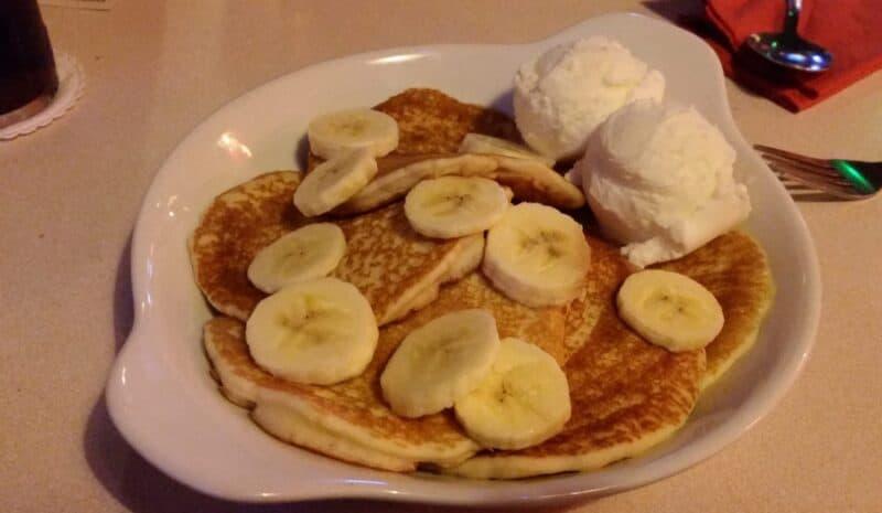 Pancakes with Banana and Ice Cream
