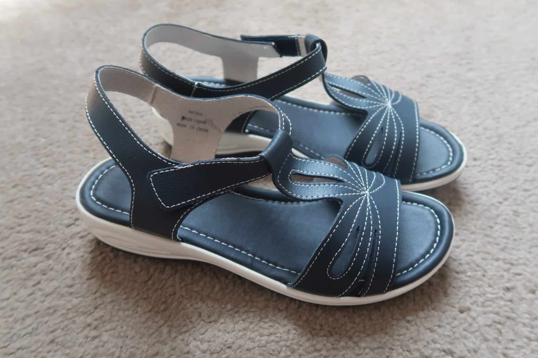 Heavenly Soles T Bar Sandals Extra Wide EEE Fit