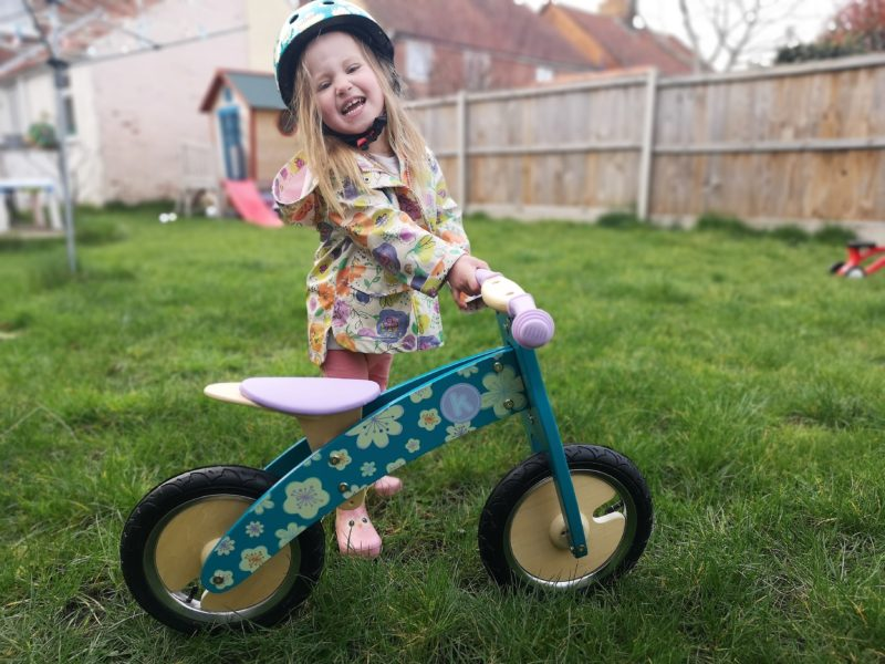 Erin with the Kiddimoto Fleur Wooden Balance Bike