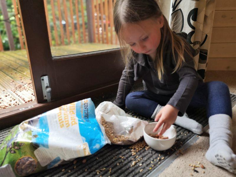 Erin feeding the squirrels