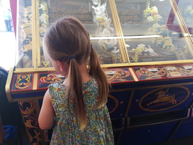 Erin playing at Sheringham arcades