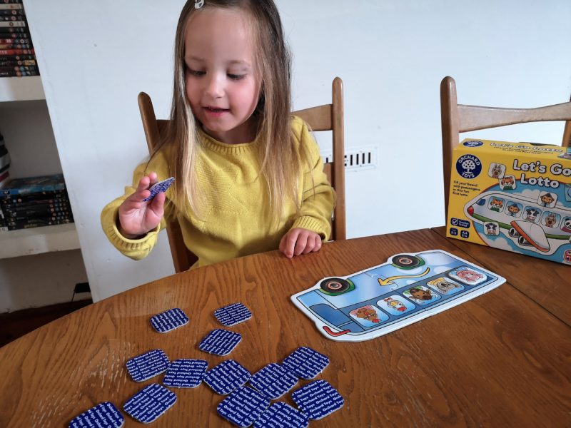 Erin playing Orchard Toys Let's Go Lotto