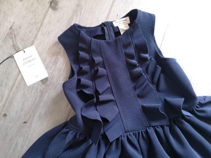 David Charles Navy Ruffle Trim Day Dress