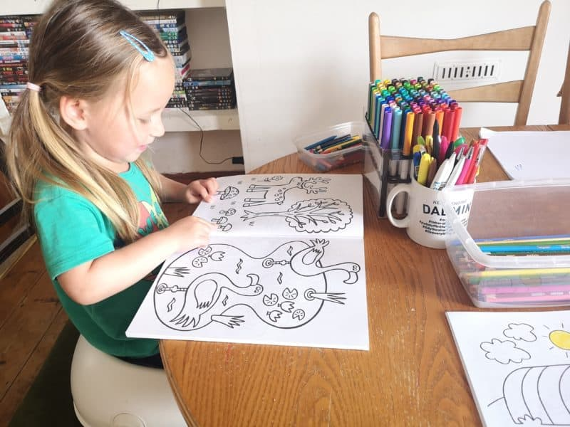 Erin with colouring books
