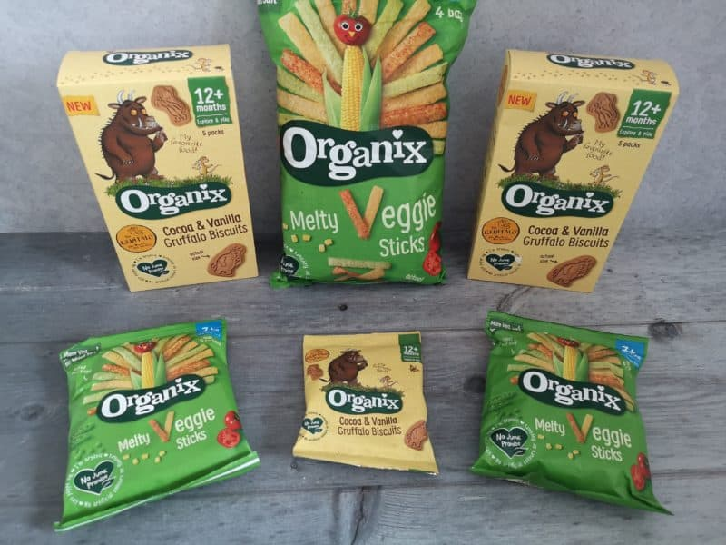 Organix Cocoa and Vanilla Gruffalo Biscuits and Melty Veggie Sticks