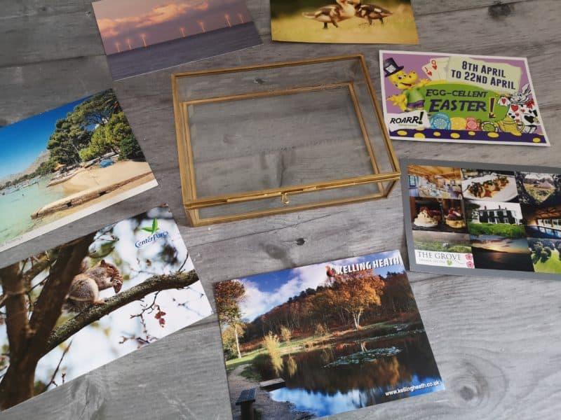 Postcard keepsake box and postcards