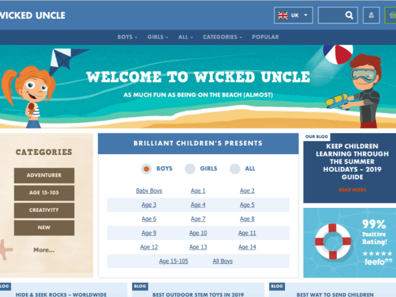 Wicked Uncle categories