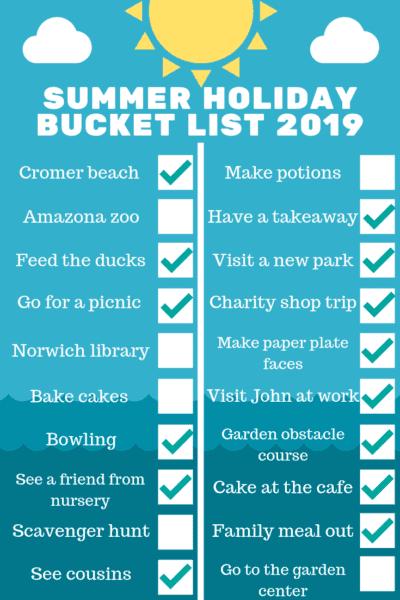 Summer holiday bucket list 2019