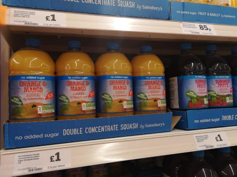 Squash drinks on a shelf