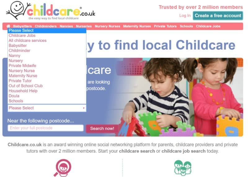 Childcare.co.uk search options