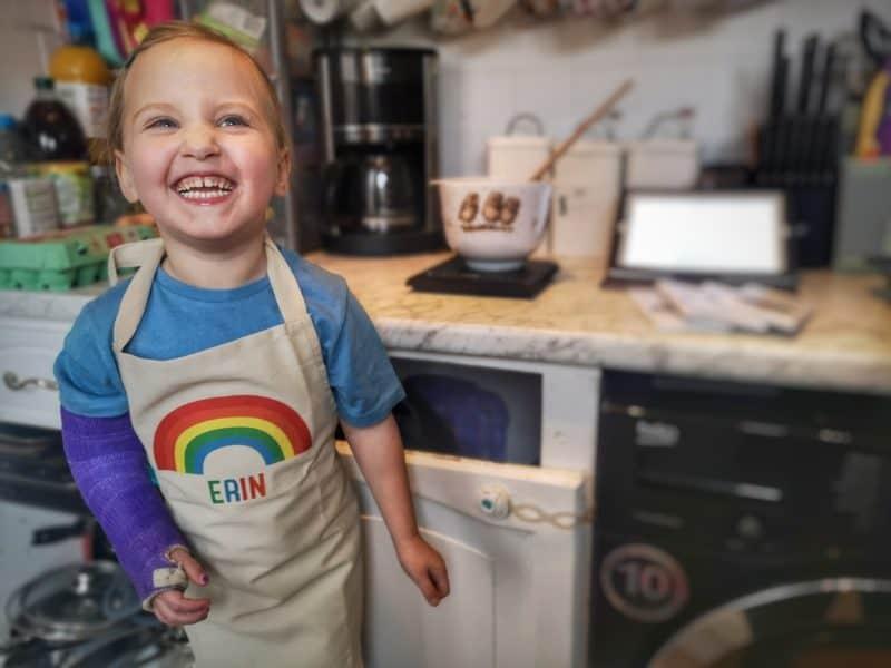 Sparks & Daughters personalised rainbow apron set