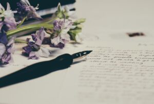 Handwritten letter with flowers