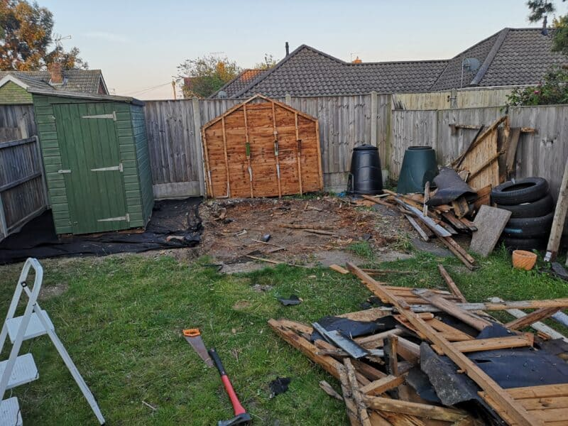 Destroying the old shed