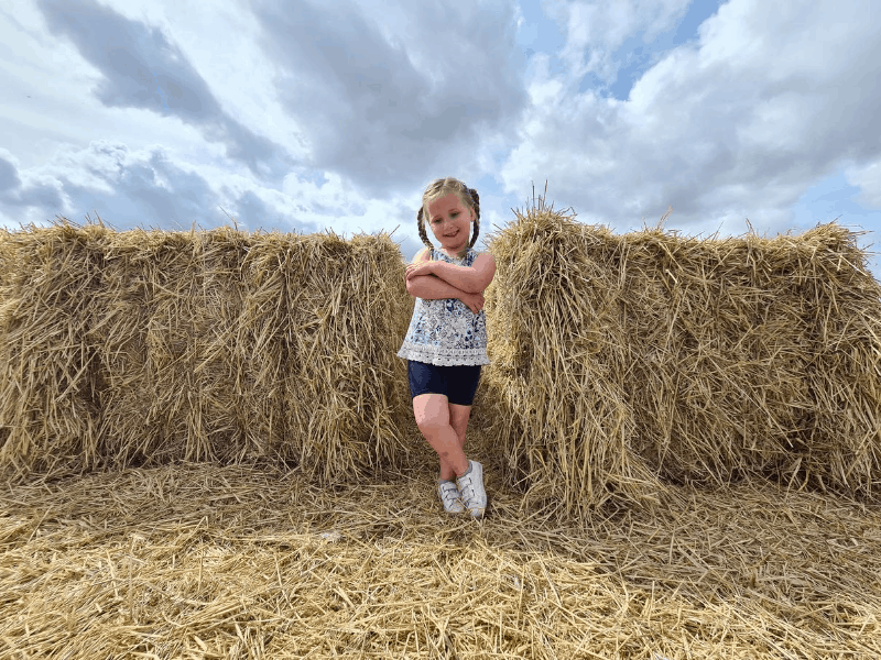 Erin on the straw bales