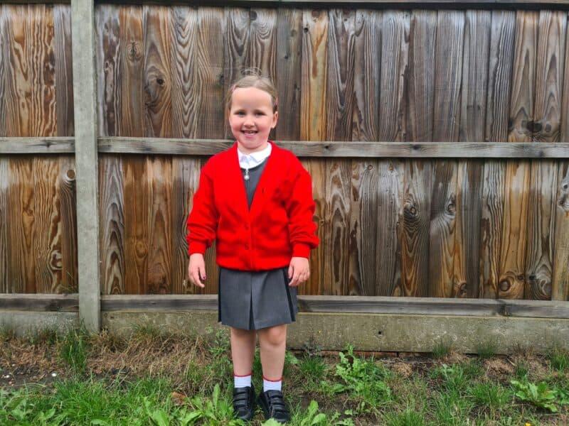 Erin in school uniform