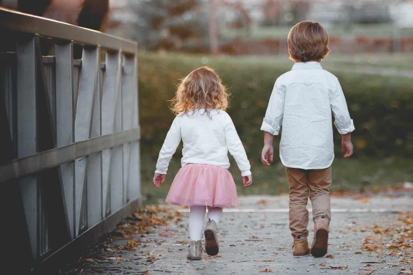 Children walking on a bridge