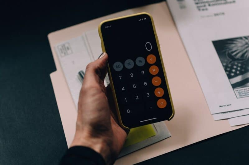 Calculator with papers