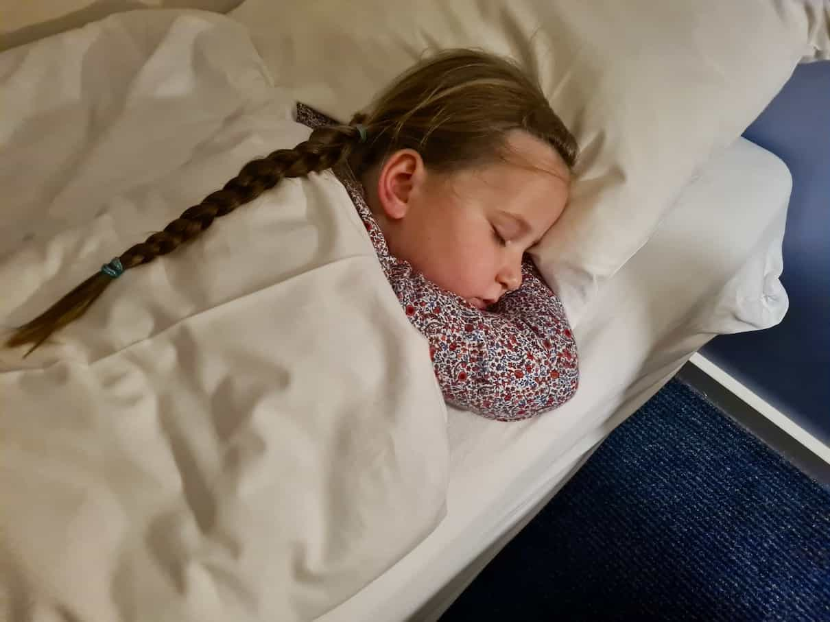 Erin sleeping in bed