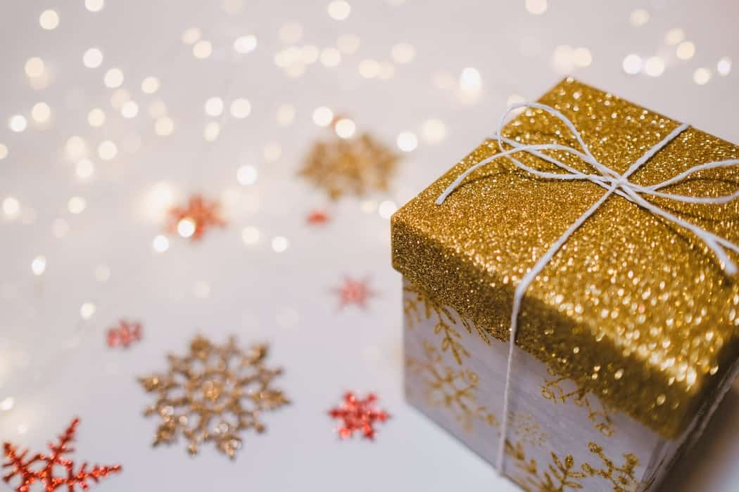 Gold sparkly Christmas present