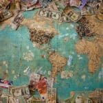 map of the world with money