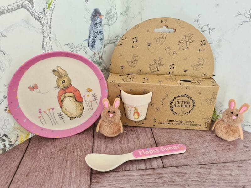 Flopsy bunny egg cup and plate set