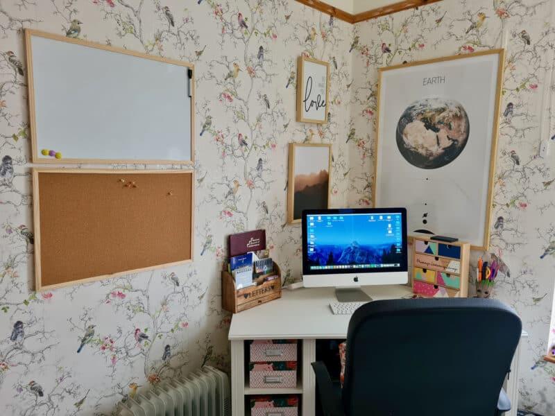 Ikea Brusali desk and prints