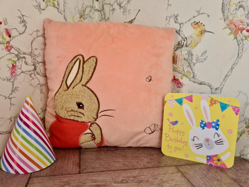 Flopsy Bunny pink cushion