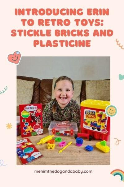 Introducing Erin to retro toys: Stickle Bricks and Plasticine
