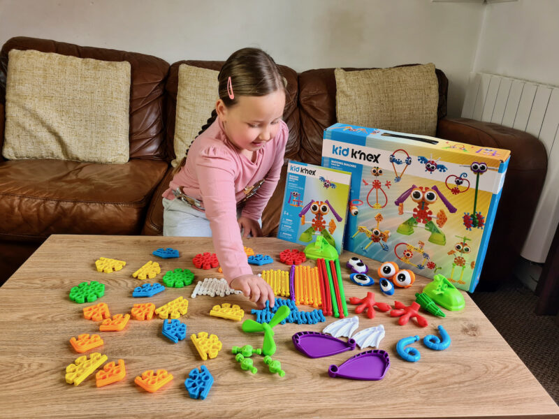 Kid Knex Budding Builders pieces on a table