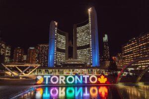 Lit up Toronto sign