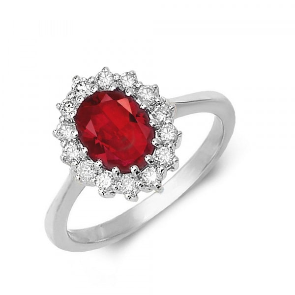 Diamond and Gemstone Ring featuring Oval shape Ruby