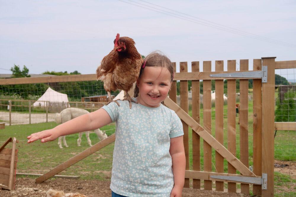 Bumblebarn Eirn with a chicken