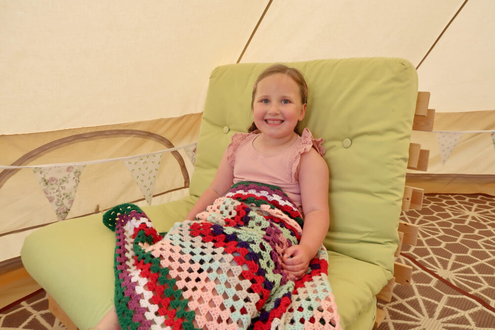 Bumblebarn Erin sat in the bell tent