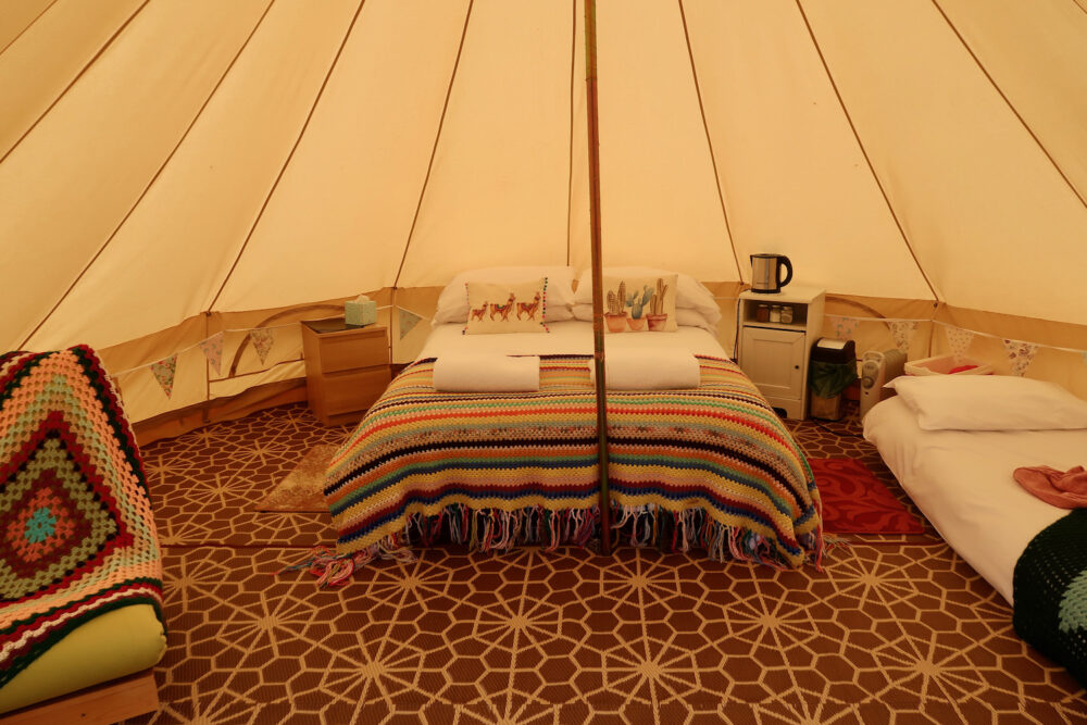 Bumblebarn inside the bell tent