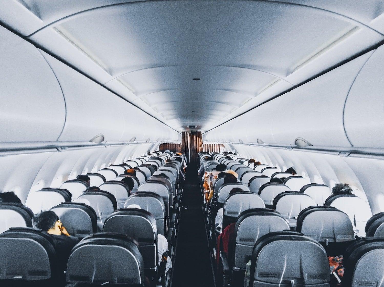 people sat on a domestic flight