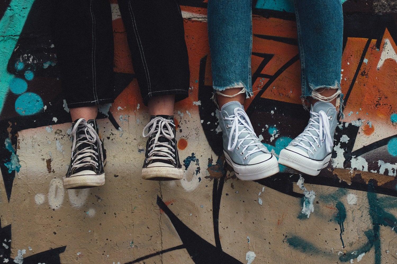 teenagers feet hanging down