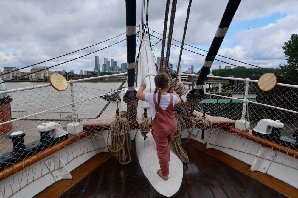 Erin looking out on the Cutty Sark
