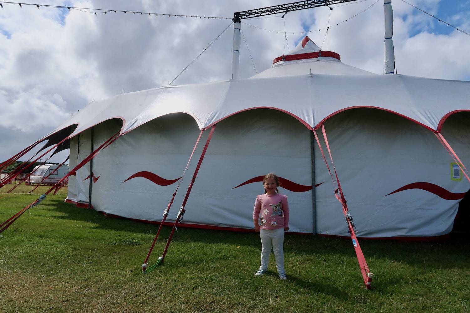 Erin outside circus tent