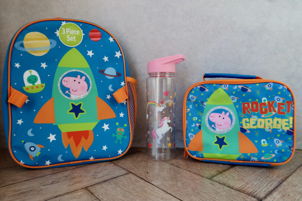 George Pig backpack and lunchbag with unicorn drinks bottle