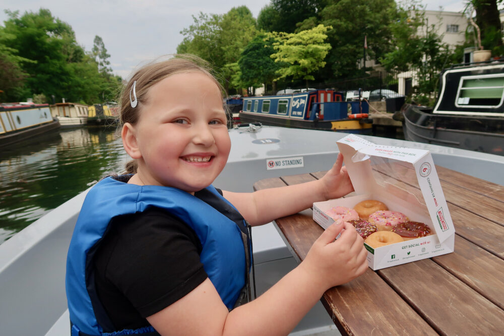 GoBoat Paddington Erin with doughnuts