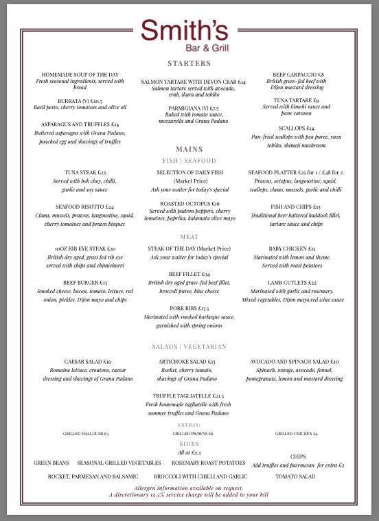 Smith's Bar and Grill Al A Carte menu