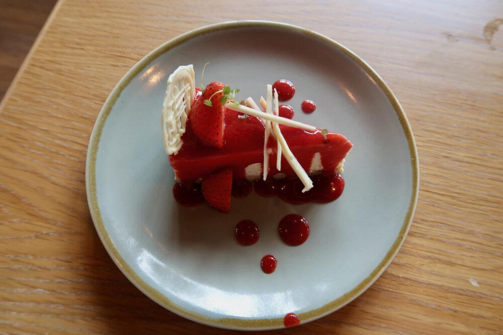 Twice baked strawberry cheesecake