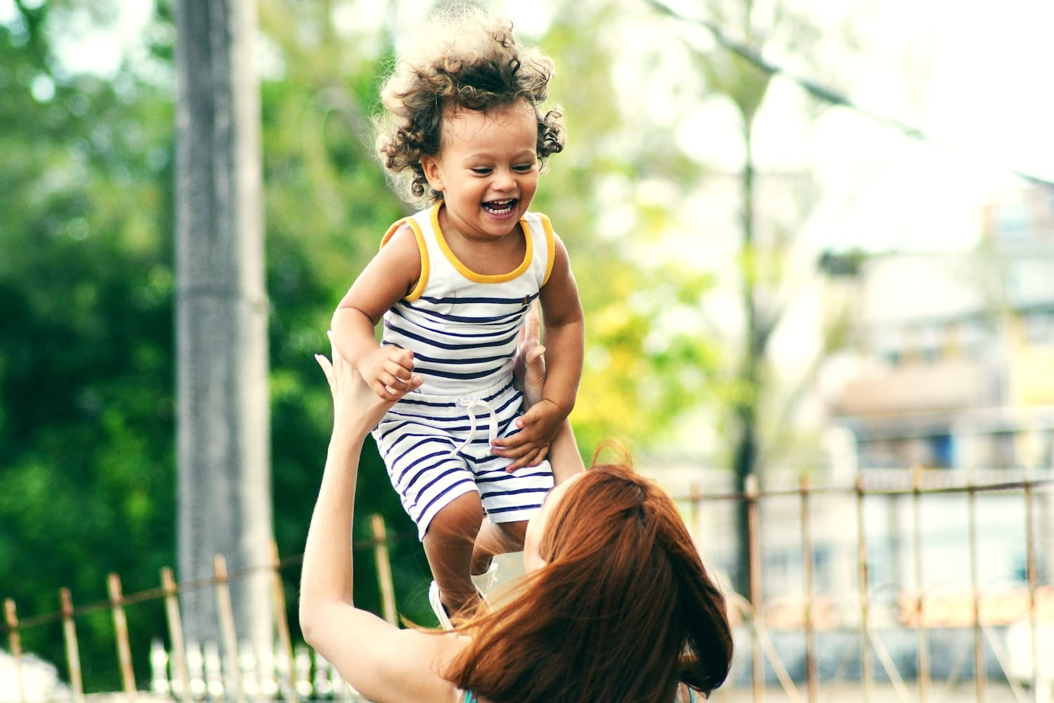 Woman playing with a child
