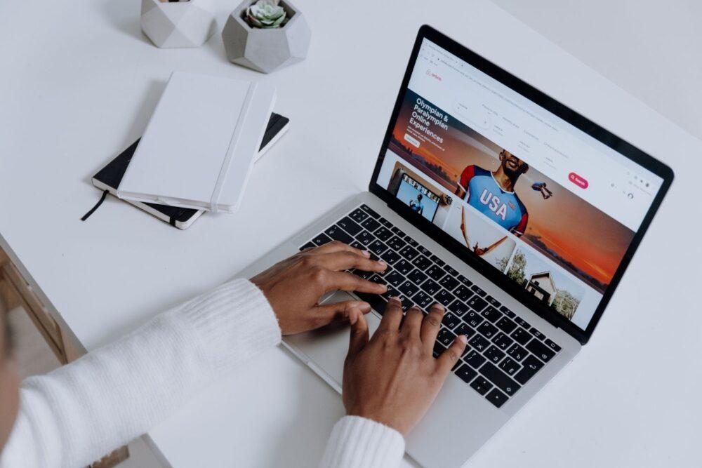 Airbnb website open on laptop