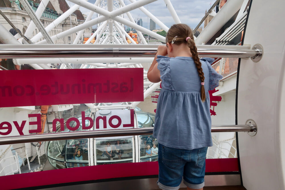 Erin looking out on the London Eye