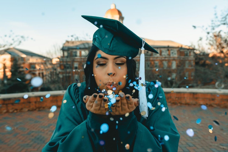 Graduation Celebration at UNC Charlotte, with confetti