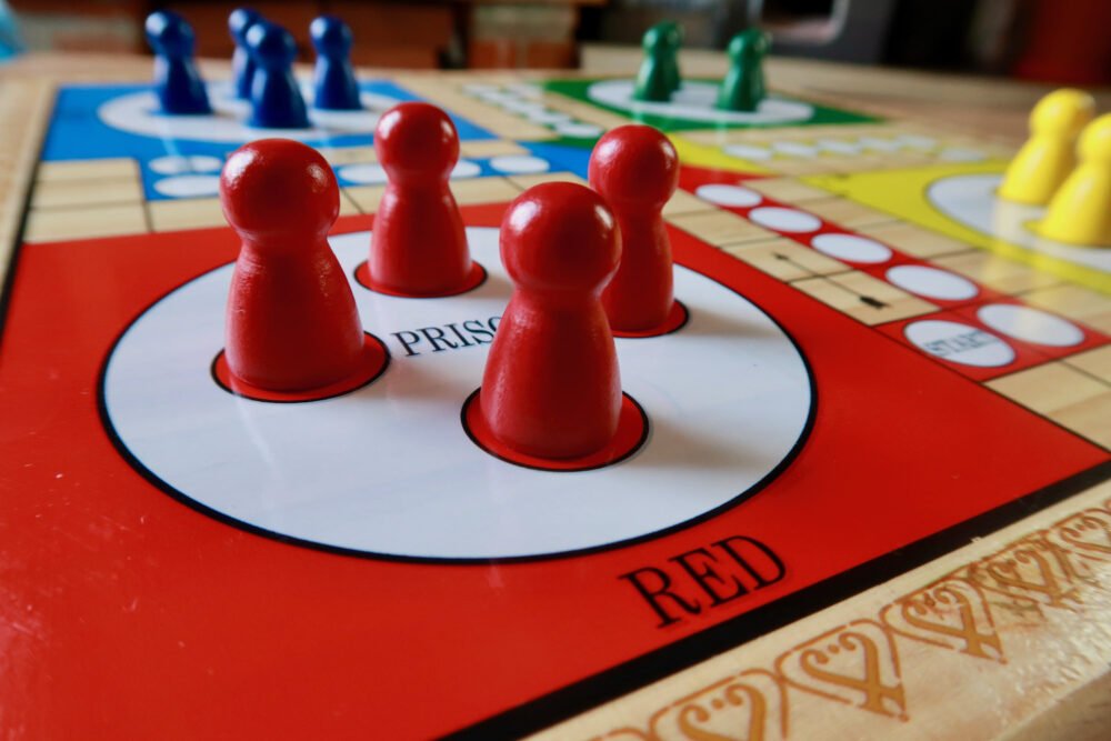 Jaques of London Ludo board and pieces