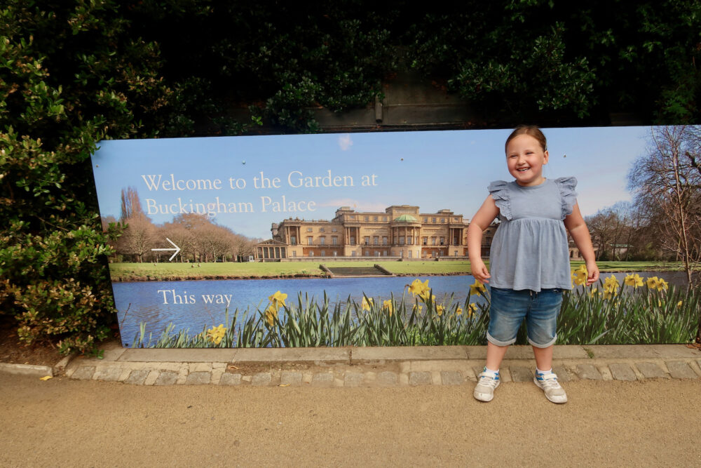 The Garden at Buckingham Palace entrance sign