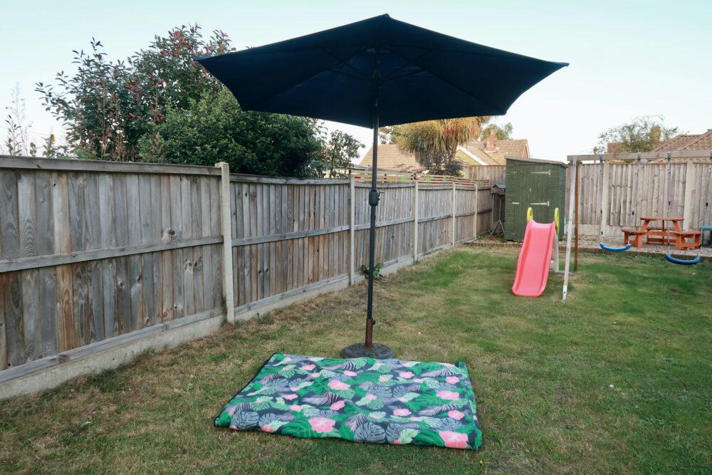 Regular opened Henley 3m Crank & Tilt Garden Parasol Umbrella Blue