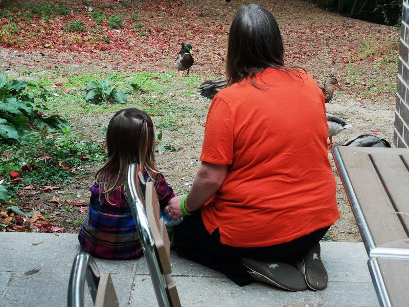 Erin and Grandma feeding the ducks